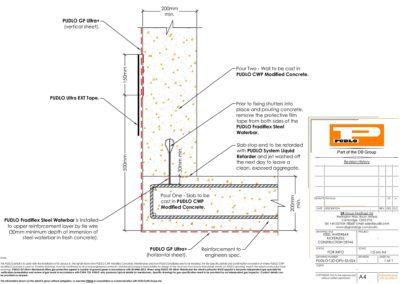 Steel Waterbar Kickerless Construction Detail