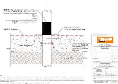 Slab Pipe Penetration Tophat Detail