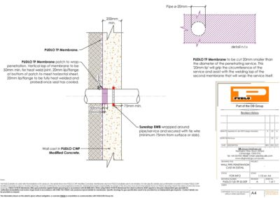 Wall Pipe Penetration Cast in Detail