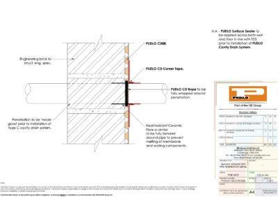 Sealing Around Hot Pipe Penetration Detail