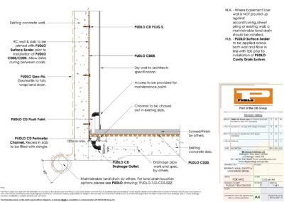 Existing Wall, Cavity & Land Drain Detail