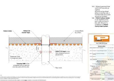 Sealing Around RC Floor Penetration Detail