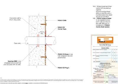 Sealing Around RC Wall Penetration Detail