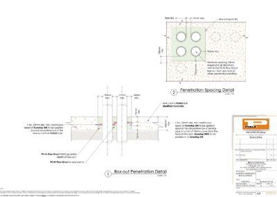Slab Pipe Penetration Hi-Flow Grout (Box-out) Detail