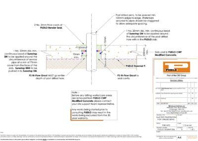 Slab Penetration (Post Drilled) Detail